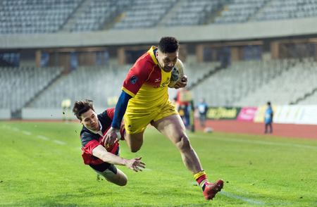 CLUJ NAPOCA, ROMANIA - FEBRUARY 10, 2018: The National Rugby Team of Romania playing against Germany during a Rugby World Cup Qualifiers match in Cluj Arena