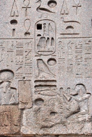 Egyptian hieroglyph. The Flaminio Obelisk is an ancient Egyptian obelisk in Rome, Italy. It is located in the Piazza del Popolo. It was built during the kingdom of Pharaoh Ramses II Editorial
