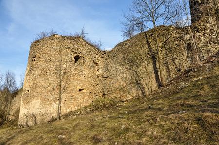 Abandoned, weathered ruins of Bologa fortress. Transylvania, Romania Фото со стока