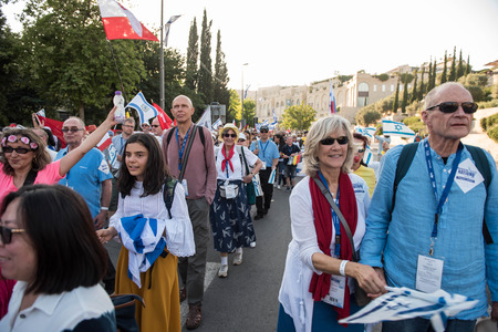 JERUSALEM, ISRAEL - MAY 15, 2018: Crowd of Christian people marching on the streets of Jerusalem during the March of the Nations, one day after US opens its embassy in Jerusalem