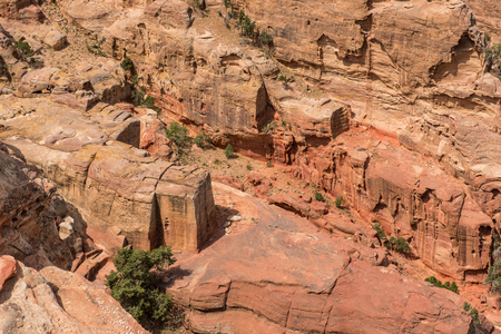 View of ancient, abandoned rock city of Petra, Unesco heritage, Jordan Banco de Imagens