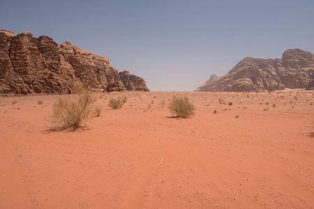 Wadi Rum desert, Jordan. Sandstone cliffs and sand dunes in the desert Stock Photo