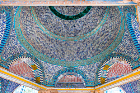 Architectural details, colorful ceramic, mosaic tiles at Dome of the Rock, Temple Mount, the third holiest place for Islam. Jerusalem, Israel Stock Photo