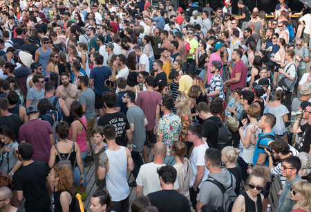 BONTIDA, ROMANIA - JULY 20,  2018: Crowd of partying people dancing during a Dj Nastia concert at Electric Castle festival Editorial