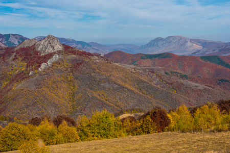 Autumn landscape with colorful trees. Fall in the Carpathains, Romania Stock fotó