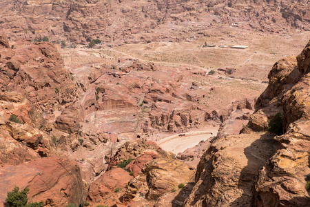 Petra amphitheater, above view from the High Place of Sacrifice. Jordan Stock Photo