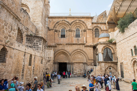 JERUSALEM, ISRAEL - MAY 15, 2018: Tourists and pilgrims visiting the holiest Christian place on Earth, the Church of the Holy Sepulchre where Jesus were buried Editorial