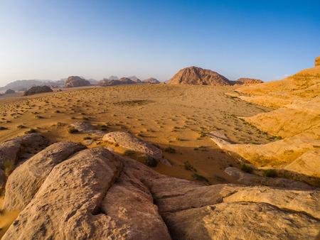 Wide angle shot of the Wadi Rum desert in Jordan, Middle East
