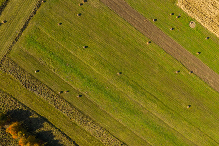 Aerial agricultural pattern view from a drone. Green meadow and hay bales Stock Photo