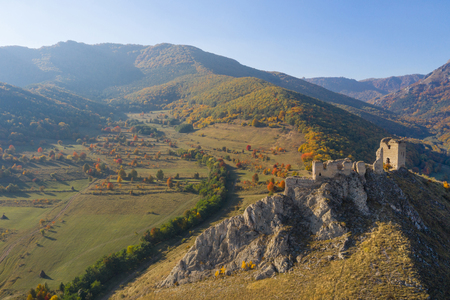 Aerial view of the medieval fortress of Coltesti (Torockoszentgyorgy) from a drone. Transylvania, Romania