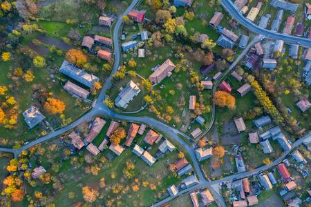 Aerial top drone view of countryside village in Transylvania, Romania