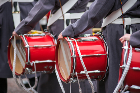 Red drums carried by soldiers during the changing of the guards ceremony in London