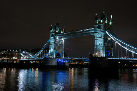 Tower bridge by night, over the Thames