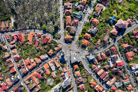 Aerial view of intersection of seven streets in old city from a drone