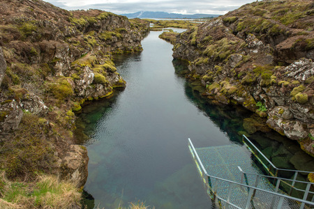 Silfra is a fissure between the North American and Eurasian tectonic plates in Thingvellir National Park, Iceland Stock Photo