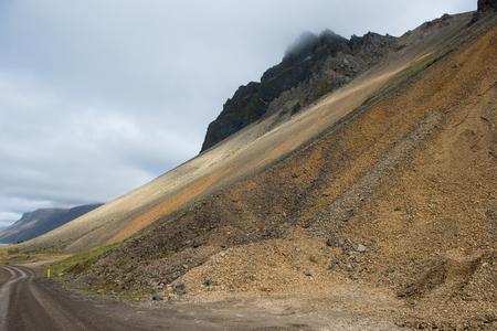 Gigantic scree slope at Vestrahorn mountain, Iceland 스톡 콘텐츠 - 124365273