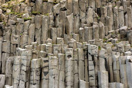 Black basalt column formation in Vik, Iceland