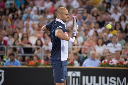 CLUJ, ROMANIA - JUNE 15, 2019: Tennis player Marius Copil playing against Fabio Fognini during the Sports Festival Editöryel