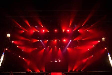 BONTIDA, ROMANIA - JULY 19, 2019: British drum and bass DJ band Sigma mixing live on the stage during a concert at Electric Castle festival Redakční