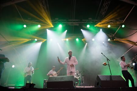 BONTIDA, ROMANIA - JULY 19, 2019: Pannonia Allstars Ska Orchestra (PASO) performing a live concert on the stage during Electric Castle festival 報道画像
