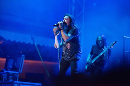 SIBIU, ROMANIA - JULY 26, 2019: James LaBrie vocalist of the progressive metal band Dream Theater performing live at Artmania Festival 報道画像