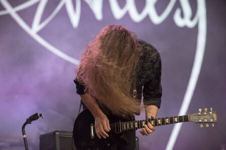 SIBIU, ROMANIA - JULY 27, 2019: French post-metal band Alcest performing a live concert on the stage at Artmania Festival