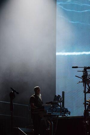 SIBIU, ROMANIA - JULY 26, 2019: Jordan Rudess keyboard player of the progressive metal band Dream Theater performing live at Artmania Festival 報道画像