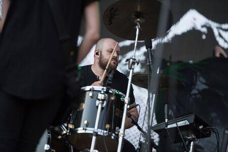 SIBIU, ROMANIA - JULY 26, 2019:  German post-hardcore band Fjort performing a live concert at Artmania festival