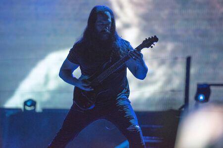 SIBIU, ROMANIA - JULY 26, 2019: John Petrucci guitar player, legend of the progressive metal band Dream Theater performing live at Artmania Festival
