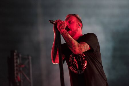 SIBIU, ROMANIA - JULY 26, 2019: Architects British metal band performing live on the stage at Artmania festival