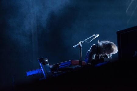 SIBIU, ROMANIA - JULY 27, 2019: Swedish progressive metal band Opeth performing a live concert on the stage at Artmania Festival 報道画像