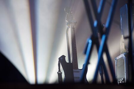 Guitar stand on the stage during concert