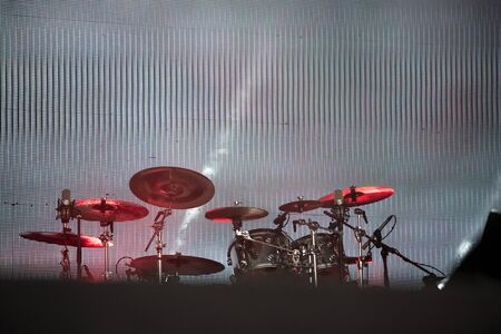 Drum kit on the stage during concert Stock Photo