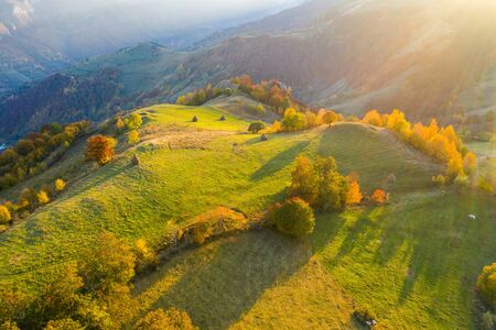 Autumn countryside aerial drone image in Transylvania, Romania