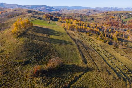 Drone aéreo filmado sobre un paisaje otoñal en Transilvania, Rumania