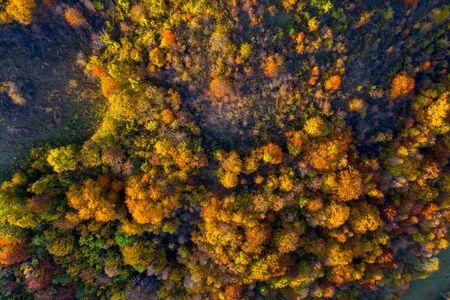 Autumn landscape drone aerial shot in Transylvania, Romania