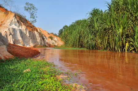 Fairy Stream (Suoi Tien), Mui Ne, Vietnam. The small stream is the place where the desert meets the jungle. Geological attraction with red and white sandstone Stock Photo