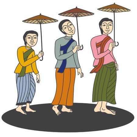 thai women: Illustration of Thai women in mural painting