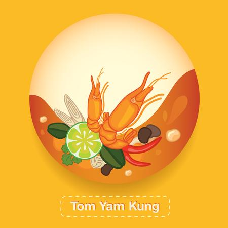 Tom Yam Kung Thai food Label Stock Vector - 53823630