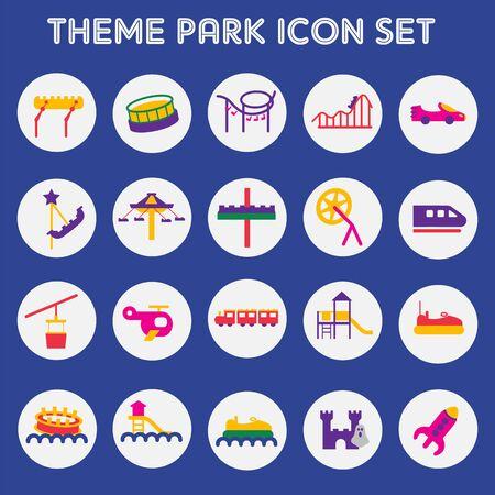 Icon set theme park Illustration