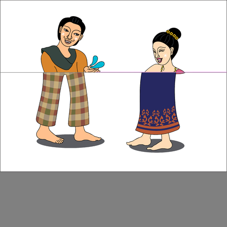 new years day: Thai couple enjoy splashing water in Thai new years Day,Thailand-illustration, Songkran Festival-illustration