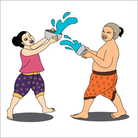 splashing water: Thai girl and boy enjoy splashing water in Thai new years Day,Thailand-illustration, Songkran Festival-illustration