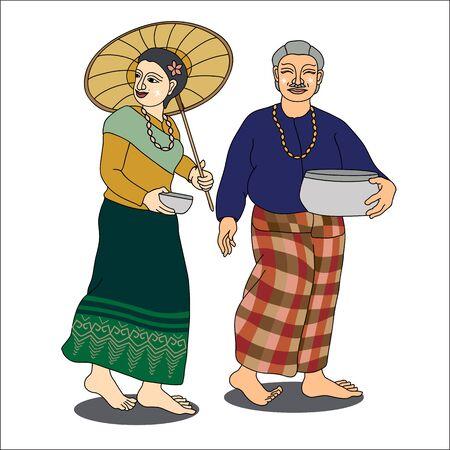 older couple: Thai older couple inThai new years Day,Thailand-illustration, Songkran Festival-illustration