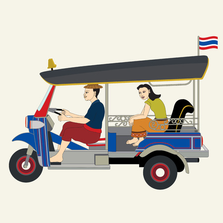 Three wheels car, tuk tuk, Thai taxi, Bangkok Thailand - illustration