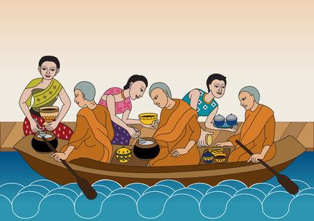 limosna: Las mujeres tailandesas dan comida limosna a los monjes budistas en barco flotante del Canal Vectores