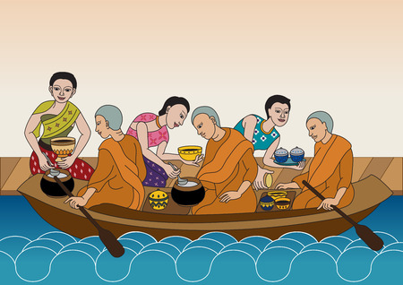 alms: Thai women give food for alms to Buddhist monks in boat of Floating Waterway