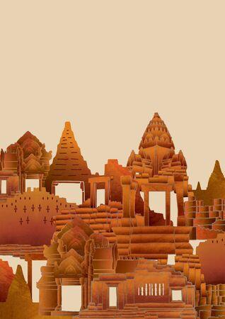 cambodia: cambodia temple illustration background Stock Photo