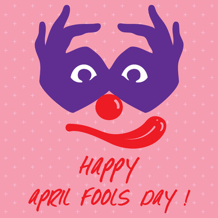 joker: April Fools Day text and funny face Joker illustration