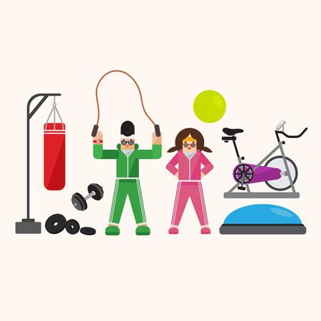 cardio: People training exercise bikes and cardio fitness illustration