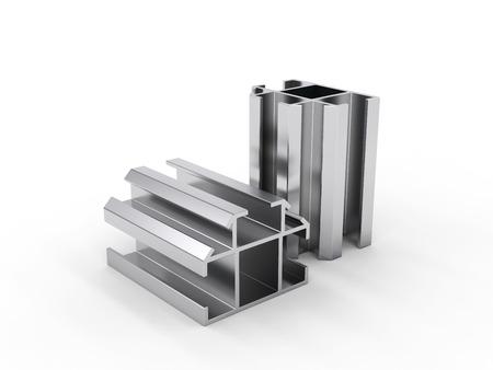 aluminum profile isolated on white background, render Zdjęcie Seryjne